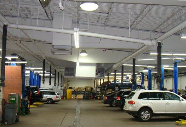 LED for auto dealership service bays, service bay LED light, service bay LED retrofit, service bay LED upgrade, LED for auto dealership, car dealership LED