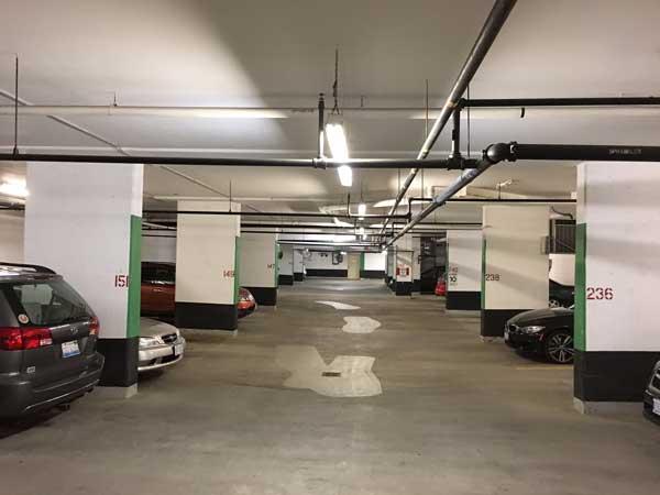 Garage LED retrofit, LED garage lights, Condominium parking LED, condo parking LED, condo LED retrofit, condominium LED retrofit